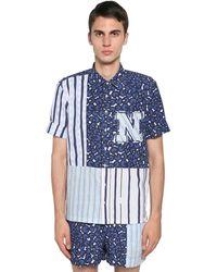 Neil Barrett Рубашка Боулинг Из Хлопка И Купро - Синий