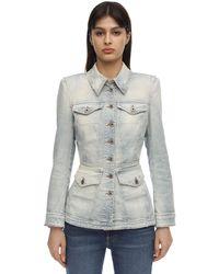 Faith Connexion Fitted Cotton Denim Jacket - Blue