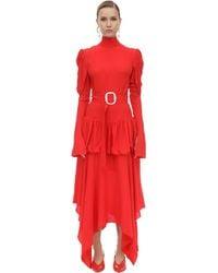 Matériel Belted Viscose Crepe Midi Dress - Red