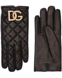 Dolce & Gabbana Guanti In Pelle Trapuntata Con Logo - Nero