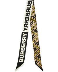 Burberry Pañuelo De Seda Con Logo Estampado - Amarillo