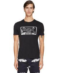 Versace Хлопковая Футболка С Принтом Логотипа - Черный