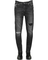 Calvin Klein コットンデニム スリムフィットディストレスドジーンズ - グレー