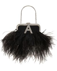 The Attico Mini Doctor's Bag W/ Feathers - Schwarz