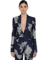 Alexander McQueen Long Brocade Blazer Jacket - Blue