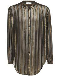 Saint Laurent Рубашка Оверсайз Из Вискозы И Шелка - Черный