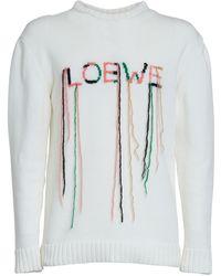 Loewe Suéter De De Punto De Algodón Con Logo - Blanco