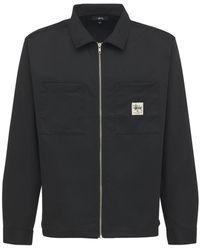 Stussy ジップアップワークシャツ - ブラック