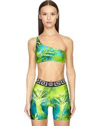 Versace Top Bikini De Lycra Estampado Jungla - Verde