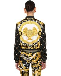 Versace Printed Faux Leather & Satin Bomber - Black