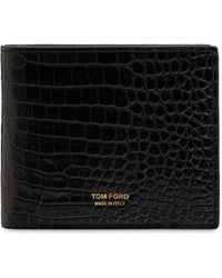 Tom Ford クロコエンボスレザーウォレット - ブラック