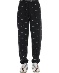 Nike Pantalones De Mezcla De Algodón Con Logo Swoosh - Negro