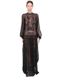 Alberta Ferretti - Long Silk Chiffon & Lace Dress - Lyst