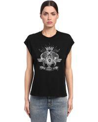 Saint Laurent - Logo Printed Cotton Jersey T-shirt - Lyst