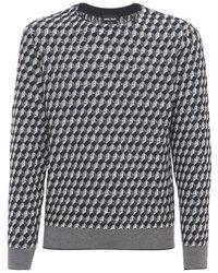 Giorgio Armani - Virgin Wool Jacquard Knit Sweater - Lyst