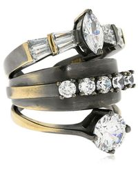 Iosselliani Stacked Ring W/ Crystals - Metallic