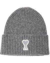 AMI ウールニットビーニー帽 - グレー