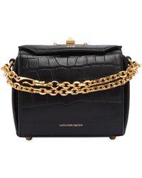 Alexander McQueen Box 16 Croc Embossed Leather Bag - Black