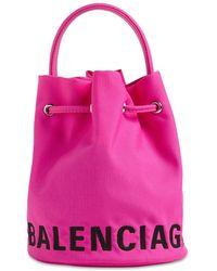 Balenciaga Xs Wheel Logo Print Nylon Bucket Bag - Pink