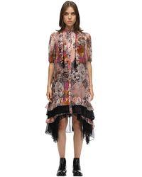 COACH Robe Midi En Chiffon De Soie Imprimée - Rose