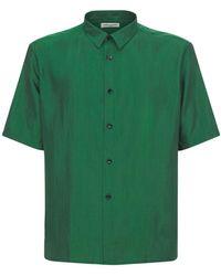Saint Laurent Шёлковая Рубашка - Зеленый