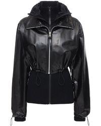Bottega Veneta Кожаная Куртка С Трикотажным Кардиганом - Черный