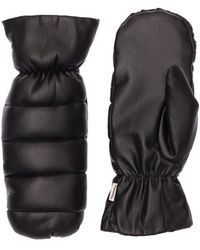 Nanushka Melaka Puffy Faux Leather Gloves - Black