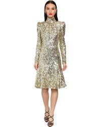 Dolce & Gabbana スパンコールタートルネックミディドレス - メタリック