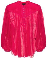 Isabel Marant Рубашка Из Хлопка И Шёлковой Вуали - Розовый