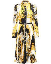 Versace バロックプリント プリーツシャツドレス - イエロー