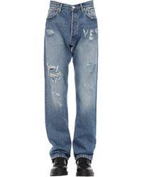 Vetements Logo Distressed Cotton Denim Jeans - Blue
