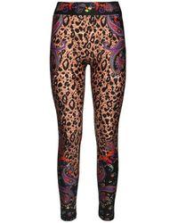 Versace Jeans Couture Leggings De Jersey De Algodón Stretch Estampado - Multicolor