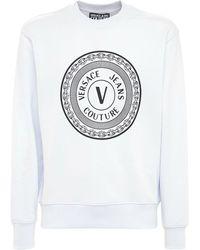Versace Jeans Couture Sweatshirt Aus Baumwolle Mit Logo - Weiß