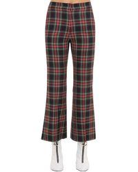 Pushbutton Pantalon Évasé À Carreaux - Bleu