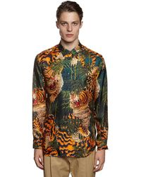 DSquared² Tiger Bamboo Printed Silk Twill Shirt - Multicolour