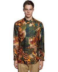DSquared² Camisa De Sarga De Seda Con Estampado - Multicolor