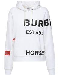Burberry Horseferry Print Cotton Oversized Hoodie - Weiß