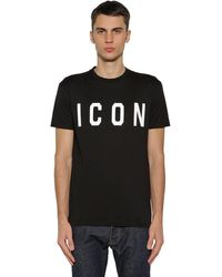 DSquared² Renny Fit Cotton T-shirt With Icon Print - Black