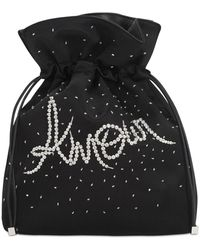 Les Petits Joueurs Trilly Amour Embellished Satin Clutch - Black