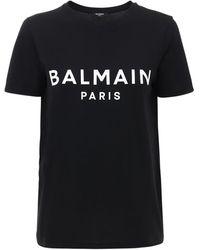 Balmain T-shirt Aus Baumwolljersey Mit Logo - Schwarz