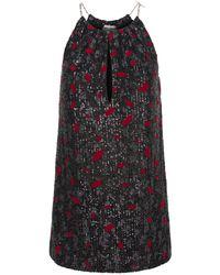 Saint Laurent - Платье Из Джерси С Вышитым Пайетками - Lyst