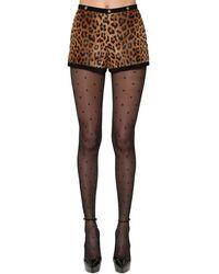 Saint Laurent - Shorts Aus Ziegenhaar Mit Leopardenmuster Und Besätzen Aus Veloursleder - Lyst