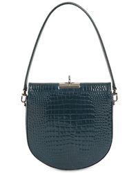 GU_DE Demilune Croc Embossed Leather Bag - Blue