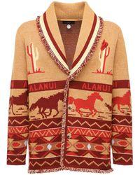 Alanui Intarsia Knit Cashmere & Linen Jacket - Multicolour