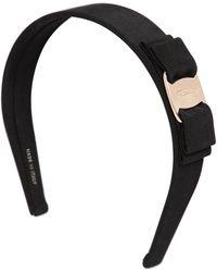 Ferragamo | Logo Bow Cotton Grosgrain Headband | Lyst
