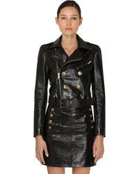 Givenchy Cropped Vintage Leather Biker Jacket - Black