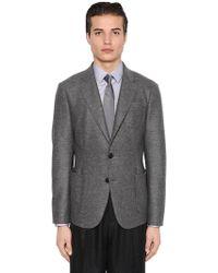 Giorgio Armani - Mélange Wool Jersey Jacket - Lyst