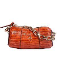 MANU Atelier Micro Cylinder Lizard Print Leather Bag - Orange