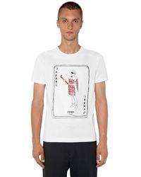 Fendi Fitted Karl Printed Cotton T-shirt - White