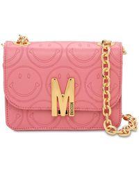 Moschino Schultertasche Aus Leder Mit Logo - Pink